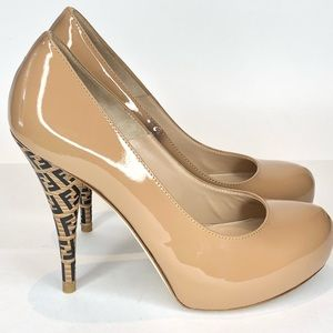 Fendi Womens Zucca Heels in nude patent leather